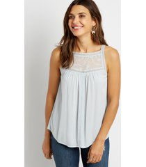 maurices womens solid lace trim high neck tank top blue