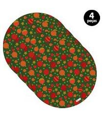 sousplat mdecore natal bolas de natal 32x32cm verde 4pçs