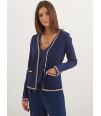 casaco le lis blanc vivian curto ii tricot azul marinho feminino (marine, gg)