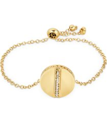 diamond circle bolo bracelet (1/8 ct. t.w.) in 18k gold-plated sterling silver