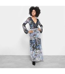 vestido longo carmim evasê floral detalhe renda