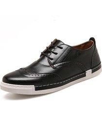 zapatos oxfords cuero casual hombre-negro