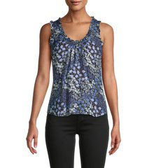 rebecca taylor women's ava ruffle silk tank top - cream blue - size l