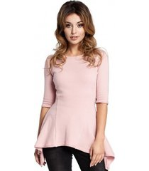 blouse be bk063 vest met sterretjesmotief - zwart-fuchsia