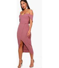 off shoulder wrap skirt midi dress, mauve