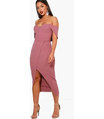off shoulder wrap skirt midi dress, mauve
