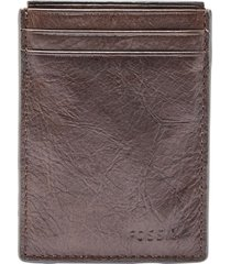men's fossil neel magnetic leather money clip card case -