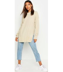 side split moss stitch tunic sweater, stone