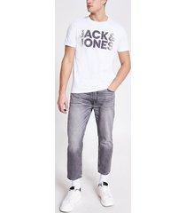 mens jack and jones white printed t-shirt
