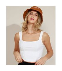 top cropped corset feminino alça média decote reto off white