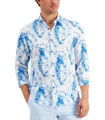 alfani men's classic-fit marble-print shirt, created for macy's