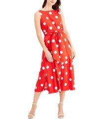 anne klein dot-print belted dress