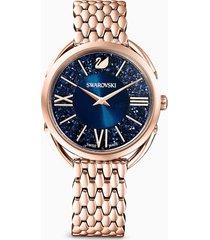 orologio crystalline glam, bracciale di metallo, azzurro, pvd oro rosa