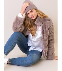 faux fur jacket taupe