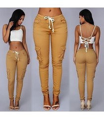 sweetpeach ashion rope belted backpackers women's cargo pants casual cotton toug