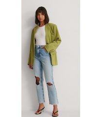 na-kd trend ekologiska raka jeans med hög midja och slitet knä - blue
