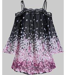 floral print open shoulder cover up top