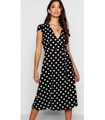 boutique wikkel jurk met stippen, zwart
