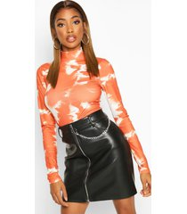 tie dye rib turtleneck top, rust