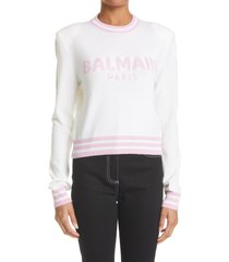 women's balmain intarsia logo wool & cashmere blend crop sweater, size 14 us - white