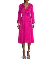 milly women's emalee silk-blend ruffle dress - magenta - size 0