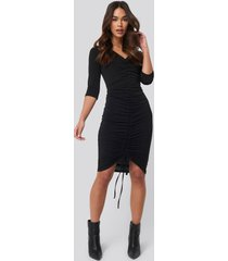 na-kd pull string dress - black
