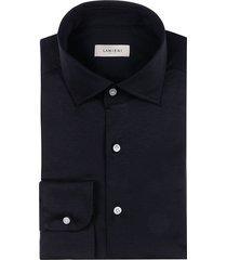 camicia da uomo su misura, maglificio maggia, blu jersey cotone, quattro stagioni | lanieri