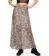 women's topshop leopard burnout maxi skirt, size 8 us - brown
