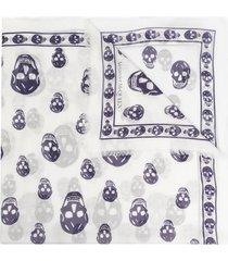 alexander mcqueen skull-print frayed scarf - white