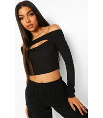tall geribbelde off shoulder top met uitsnijding, black