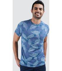 camiseta para hombre hojas hawaianas color azul, talla m