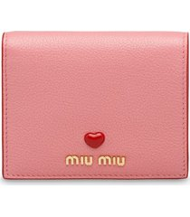 miu miu madras leather wallet - pink
