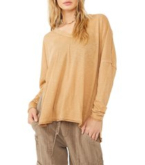 free people on my mind v-neck shirt, size large in light earth at nordstrom