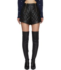 zip detail quilted faux leather shorts