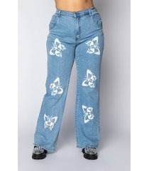 akira plus butterflies high rise straight leg jeans