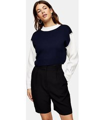 color block overlock sweatshirt - multi
