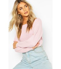 slash neck crop fisherman sweater, pastel pink
