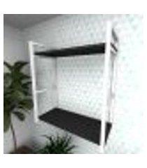 prateleira industrial para sala aço branco prateleiras 30 cm preto modelo indb10psl