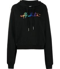 off-white rainbow logo print cropped hoodie - black