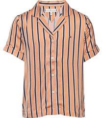 resort stripe shirt s/s overhemd oranje tommy hilfiger