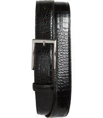 men's big & tall torino gator grain embossed leather belt, size 46 - black