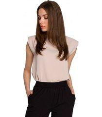 blouse style s260 mouwloze blouse met gewatteerde schouders - beige