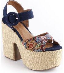 sandalia plataforma para dama color azul 042celinaazul