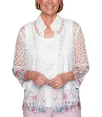 alfred dunner petal pushers floral embroidered top