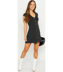 petite cap sleeve button polka dot shift dress, black
