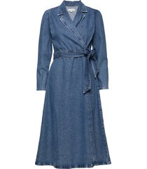 slfharper ls fray blue denim dress w jurk knielengte blauw selected femme