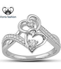 10k white gold plated 925 silver sim diamond double heart shape engagement ring