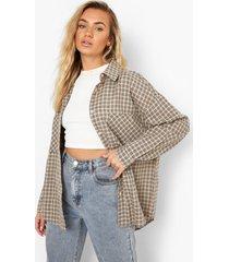 geruite oversized blouse, beige