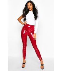 deep waistband split front vinyl leggings, berry