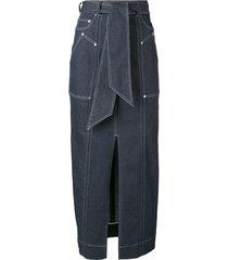 talbot runhof belted long pencil skirt - blue